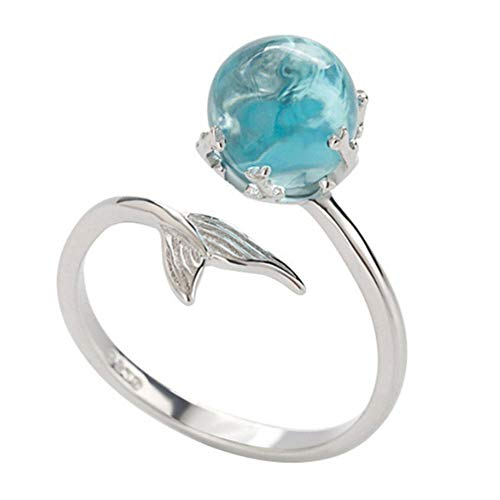 Czjewelry Princess of Ocean Mermaid Blue Crystal Open Ring Size Adjustable Women Girls Jewelry