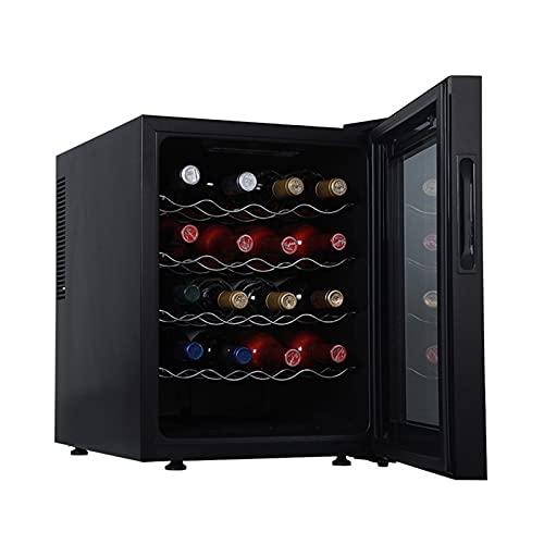SADWQ Vinoteca de 16 Botellas Temperatura Regulable Alto Rendimiento Garantizado Puerta hermética de Vidrio de Doble Capa para Cocina Hogar, Bar Menos Ruido- Negro