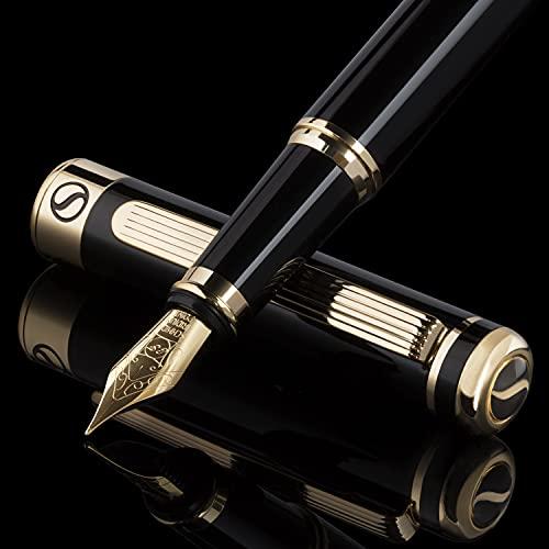 Scriveiner 最高級 プレミアム 万年筆(黒)魅力的な美しさ 24K金仕上げ Schmidt 18K金メッキペン先 (極細) 男性にも女性にも最適 プロフェッショナル 重役 職場 上品な万年筆ギフトセット 極細のペン先 ブラック