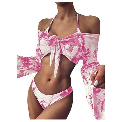 Bikini de mujer para mujer con cuello de tubo sexy y teñido anudado para nadar, bikini con cordones y manga larga, juego de tres piezas, ropa de verano para la playa (color rosa, talla: M)