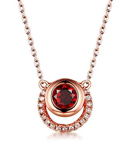 ZHANGQIAN Regalos de Las Mujeres para la Navidad 925 Sterling SILIARLOUND Red Pomegranate Colgante Collar Colgante Rose Gold Jewelry Regalos de cumpleaños para su Hija Esposa Novia Hermana