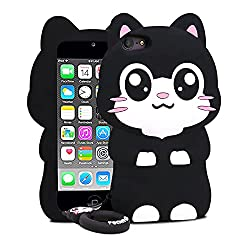 small Cat Case for iPod Touch 5 6 7 Kids Boys Teenagers Girls Women (4.0 inches), 3D Cartoon BEFOSSON…