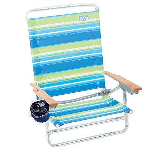 """Rio Brands Beach Classic 5 Position Lay Flat Folding Beach Chair - Sea Stripes, 30.8"""" x 24.75"""" x 29.5"""" (ASC592-1704-1)"""