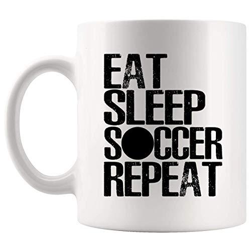 Regali del giocatore di calcio di Lsjuee Mangia il regalo del giocatore di sport di calcio Calcio Tazza della tazza da 11 once - Maglietta dei regali