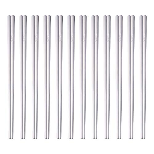 Flat Chopsticks 18/10 Stainless Steel Chopsticks 12 Pairs Reusable 9 Inches Metal Chopsticks