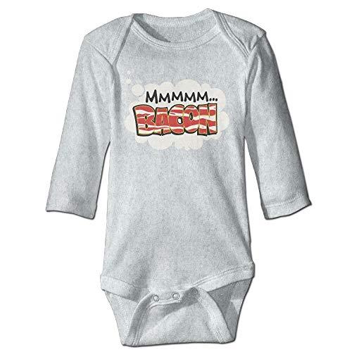 FULIYA Baby Crawler Baby Jersey Bodysuit Long Sleeve Bodysuit Baby,Unisex Infant Bodysuits Dreaming of Bacon Girls Babysuit Long Sleeve Jumpsuit Sunsuit Outfit Ash 24M