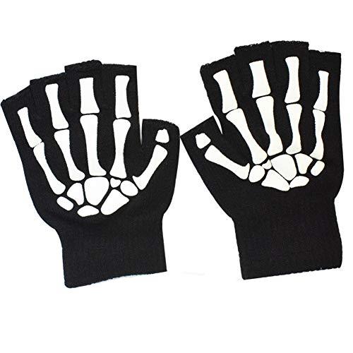 Melop Unisex Halbfinger Handschuhe Skelett Muster Glow in The Dark Halloween Schädel Knochen Gemustert Strickhandschuhe