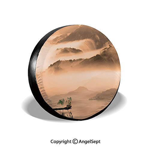 """Spare Tire Cover,Chinese Lake Landscape Before Majestic Foggy Mountains in Mist Clouds Dramatic Hill View Decorative,Peach,for Jeep,Trailer, RV, SUV and Many Vehicle 14"""""""