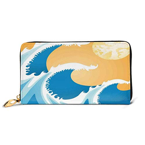 Women's Long Leather Card Holder Purse Zipper Buckle Elegant Clutch Wallet, Huge Sea Waves at Summer Noon Art Picture Tropical Ocean Storm Tide,Sleek and Slim Travel Purse