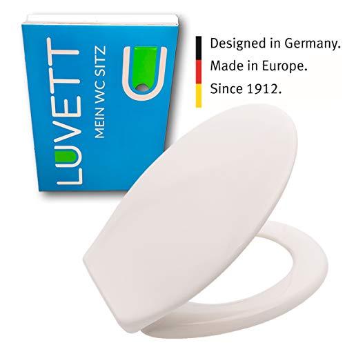 LUVETT WC-Sitz C200 oval mit EasyFix® Steckscharnier (Bequeme, stabile Befestigung von oben), Duroplast Toilettendeckel, Farbe:Pergamon