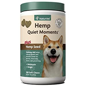 NaturVet Quiet Moments Calming Aid Dog Supplement, Helps Promote Relaxation, Reduce Stress, Storm Anxiety, Motion Sickness for Dogs (Quiet Moments Plus Hemp, 180 Soft Chews)