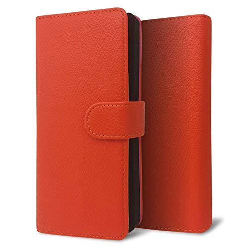 改良進化版 プルームテック プラス ケース Ploom TECH + 賢者の箱+ まとめて収納 コンパクト手帳型 ライチ柄 新型 オレンジ