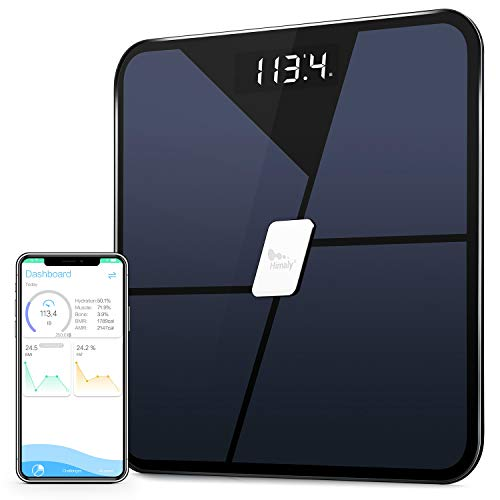Himaly Báscula Grasa Corporal, Báscula Baño Digital Bluetooth Inteligente, Báscula Analógica Monitores de composición corporal Para Móviles Andriod y iOS