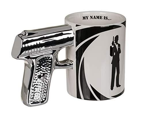 Haus und Deko Kaffeetasse Geheimagent Tasse mit silbernem Pistolen-Griff origineller Agenten Spion Steingut-Becher schwarzweiß My Name is.