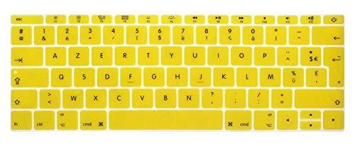 Funda para teclado de silicona francesa de la UE para MacBook New Pro de 13 pulgadas A1708 (versión 2016, no Touch Bar) para 12 pulgadas A1534 Retina Keybaord (color: amarillo)