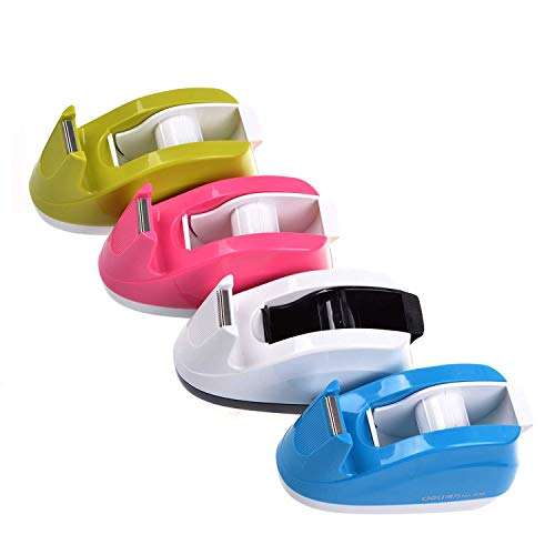 Heavy Duty Tape Dispenser Weighted Base Nonskid Pad for One-Hand Dispensing Color Random