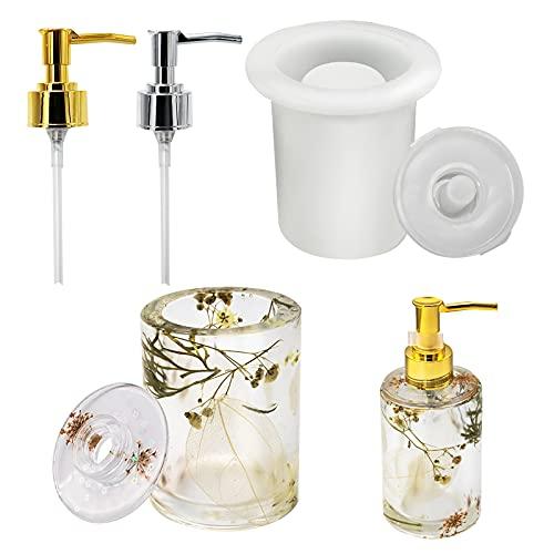 SUPGOMAX Molde de silicona, dispensador de resina, forma de resina, incluye 2 bombas dosificadoras, 120 ml, para lociones, gel de ducha, jabón de manos
