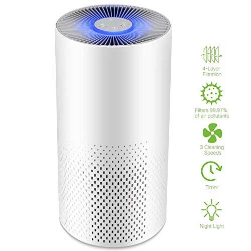 IFLOVE Luftreiniger Air Purifier 4 in 1 mit HEPA-Kombifilter & Aktivkohlefilter,Luftreinigung Mit Schlafmodus Timer Nachtlicht,4-Stufen-Filterung Für 99,97% Filterleistung Ideal Für Zuhause,Büro