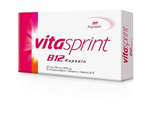 Vitasprint B12 Kapseln – Arzneimittel mit hochdosiertem Vitamin B12 und Eiweißbausteinen für geistige und körperliche Energie – 1 x 20 Kapseln