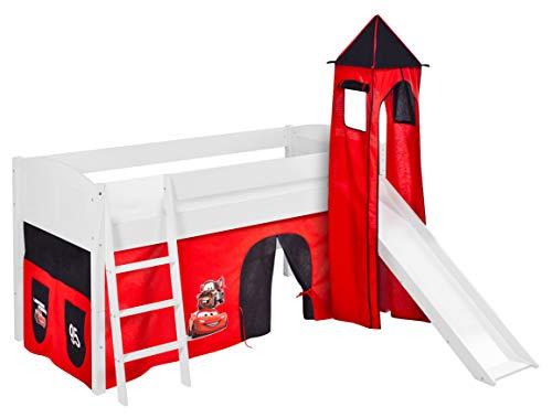 Lilokids Spielbett IDA 4106 Disney Cars-Teilbares Systemhochbett weiß-mit Turm, Rutsche und Vorhang Kinderbett, Holz, 208 x 220 x 185 cm