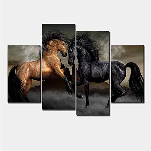 Aehoor Novel Bilder Art 4 Teile Horse Leinwand Wandkunst Bild HD Anime Druck Deko Zuhause Dekorationen Bar Vlies Wall Wandbilder Wohnzimmer Kunstdrucke Poster Modern 40x80x2/40x100x2 Frame