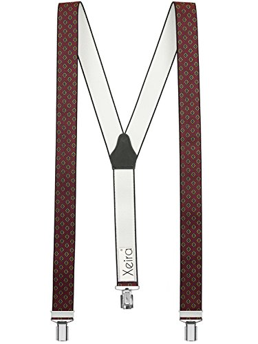 Xeira® Bretelles de Haute qualité avec 3 Clips Fort de 35mm dans 15 Design - Rayures (Vintage Bordeaux)