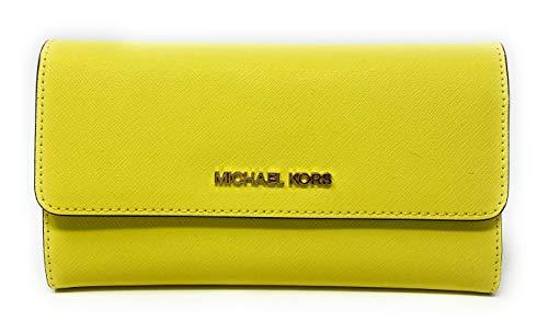 Michael Kors Jet Set Travel Large Saffiano Leather Trifold Wallet (Sunshine)