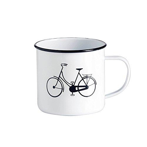 Emaille-Tasse - Kaffeebecher - Tasse Weiß mit schwarzem Design Fahrrad, Sonne oder Retro-Brille - Vintage-Tasse groß und robust - 500 ml - für Retro-Küche, Picknickkorb, Camping oder als Kakteen-Topf