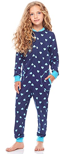 Merry Style Pijama Entero 1 Pieza Vestido de Casa 100% Algodón Niña MS10-186 (Marino Corazones Turquesa, 110-116)
