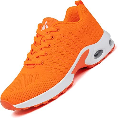 Mishansha Air Straßenlaufschuhe Damen Laufschuhe rutschfest Sportschuhe Frauen Dämpfung Turnschuhe Atmungsaktiv Walkingschuhe Leichte Sneaker Orange, Gr.37 EU
