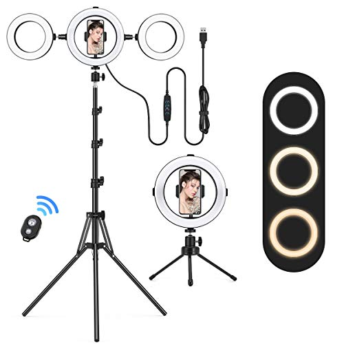 """8"""" LED Ring Light with 2 Tripod Stand, Lofter Dimmable Selfie Light USB Powered Circle Lighting with Phone Holder, for YouTube Video, TikTok, Live Streaming, Makeup, Selfie Photography iPhone Android"""