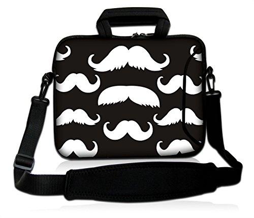 LUXBURG® 10,2 Zoll Schultertasche Notebooktasche Laptoptasche Tasche mit Tragegurt aus Neopren für Laptop / Notebook Computer - Die Kunst des Schnurrbarts