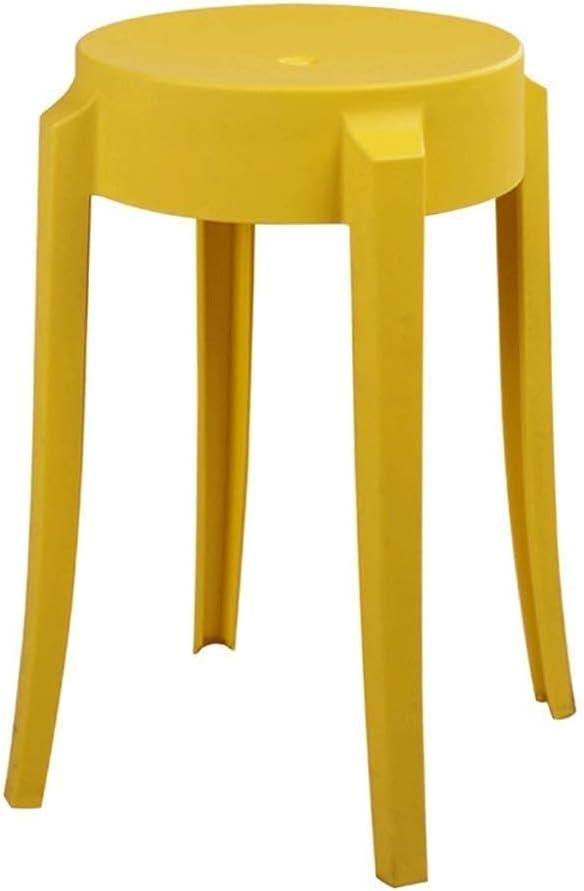 QULONG Taburete de Bar de plástico para Silla de jardín, Taburete Alto Grueso, Taburete de Mesa apilable Creativo, Taburete Alto para el hogar, Multicolor Opcional
