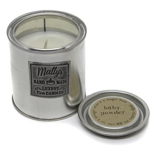 Matty's Candles Vela perfumada de coco y colza en polvo para bebé. Embalaje reciclable ecológico. Apto para veganos
