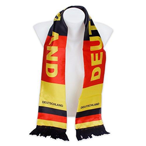 Roomando Fanschal Schal Länderschal Deutschlandschal aus Satin in Deutschland-Farben zur Fußball-WM 2018 schwarz - rot - Gold
