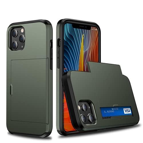 para iPhone 13 12 Mini Pro MAX 11Phone Case,Parachoques del teléfono con Ranuras para Tarjetas de Billetera,Cubierta Protectora del teléfono de la Cubierta de la del Tenedor de la Tarjeta de crédito