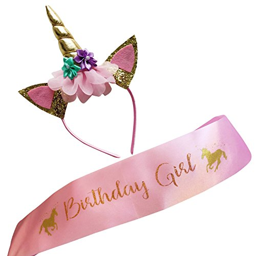 Marvs Store Unicorn Birthday Girl Set of Gold Glitter Unicorn Headband and Pink Satin Sash for Girls with eBook included,Happy Birthday Unicorn Party Supplies, Favors and Decorations - 2020 New