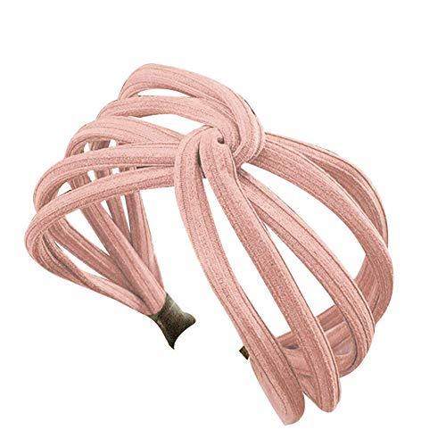 Vrouwen Twist Hoofdband Boog Knoop Cross Tie Doek Hoofddoek Haarband Hoop roze