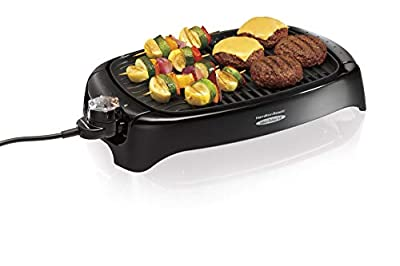 Hamilton Beach 8-Serving Electric Indoor & Outdoor Smokeless Grill, Dishwasher Safe, Adjustable Temperature Control, Black (31605N)