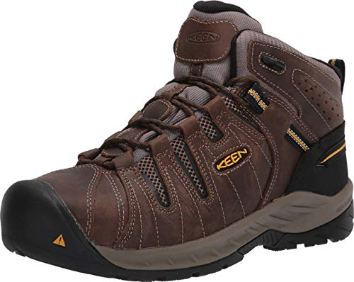 KEEN Utility Men's Flint Ii Mid Steel Toe Non Slip Work Boot Construction Shoe, Cascade Brown/Golden Rod, 10.5 Wide
