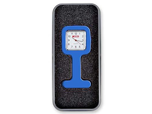 GIMA Ref. 20455 Reloj de Enfermeros de Silicona con imperdible, en Caja de Aluminio, cuadrante Cuadrado de 35mm, Largo 85mm, Movimiento japonés, Color Azul, duración de la batería 18 Meses