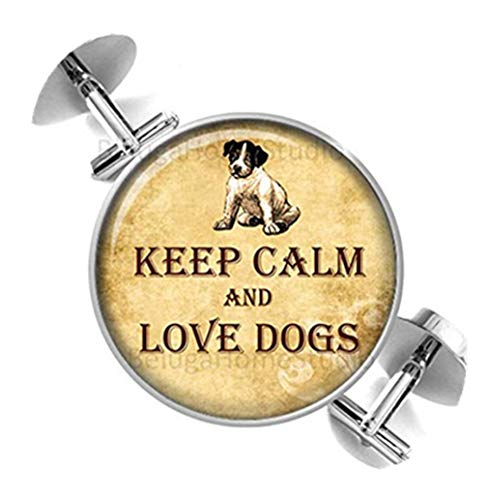 Heng Yuan Manschettenknöpfe, Design Dogs Keep Calm and Love Dogs, Kuppelglas-Schmuck, Reine Handarbeit