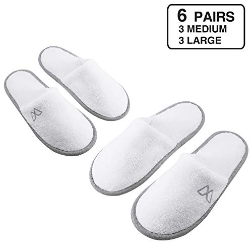 Spa Slippers, Indoor Hotel Slippers Closed Toe, Disposable for Men and Women, Fluffy Coral Fleece, Deluxe Padded Sole for Extra Comfort (6 Pairs - 3L, 3M)