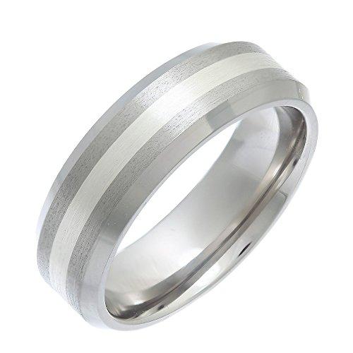 Bague - Anillo de hombre de titanio y plata (talla: 15.5)