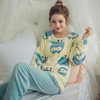 HIE Ladies Pajamas Set Winter Warm Cartoon Flower Long Sleeve Cute Pajamas Casual Home Service Pajamas Pajamas Nightdress ...