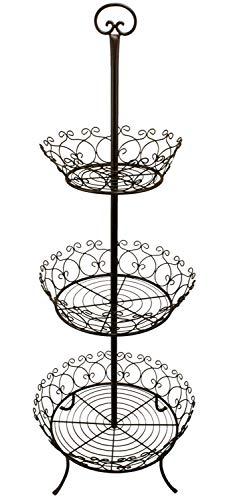 Manufaktur Lichtbogen Metall Etagere 132 cm hoch 3 stöckige Etagere für innen und außen
