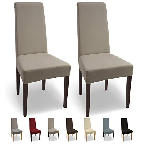 SCHEFFLER-Home Natalie 2 Fundas de sillas, Estirable Cubiertas, Algodón extraíble Funda con Banda elástica, Beige
