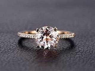 1.25 Carat Antique Design Round cut Morganite and Diamond Engagement Ring for Women In Rose Gold