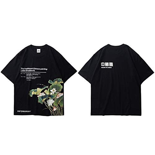 GVDFSEYL Heren Hip Hop T-shirts Lotus Schilderij Streetwear T-shirt Harajuku zomer korte mouwen T-shirt katoen tops zwart