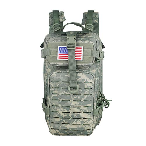 Warriors Product Small Assault Backpack Military Tactical Backpack Molle Bag with Flag Patch for Outdoor (ACU)